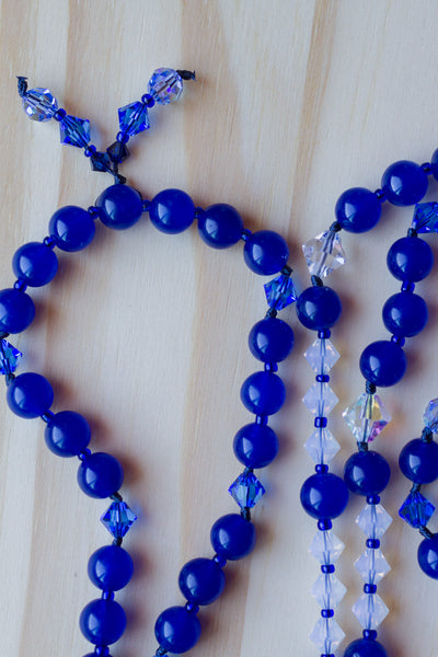 "28"" Long Blue Agate Pendant Necklace with Sapphire Blue Glass & Swarovski Crystal Beads"