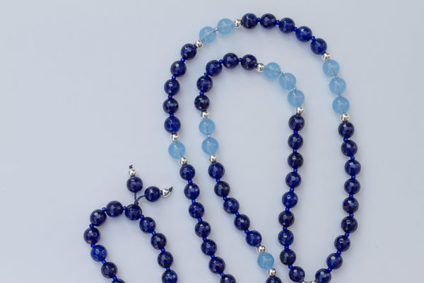 "Custom for Rona ~ 30"" Long Dark Blue Agate Pendant Necklace"