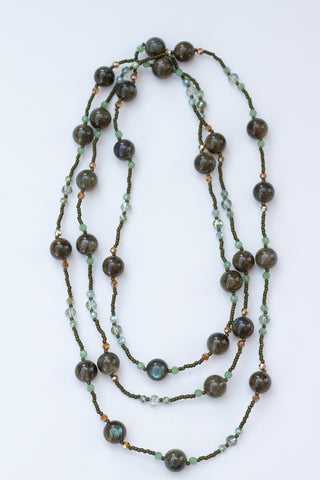 "58"" Long Green Labradorite & Crystal  Beaded Necklace"