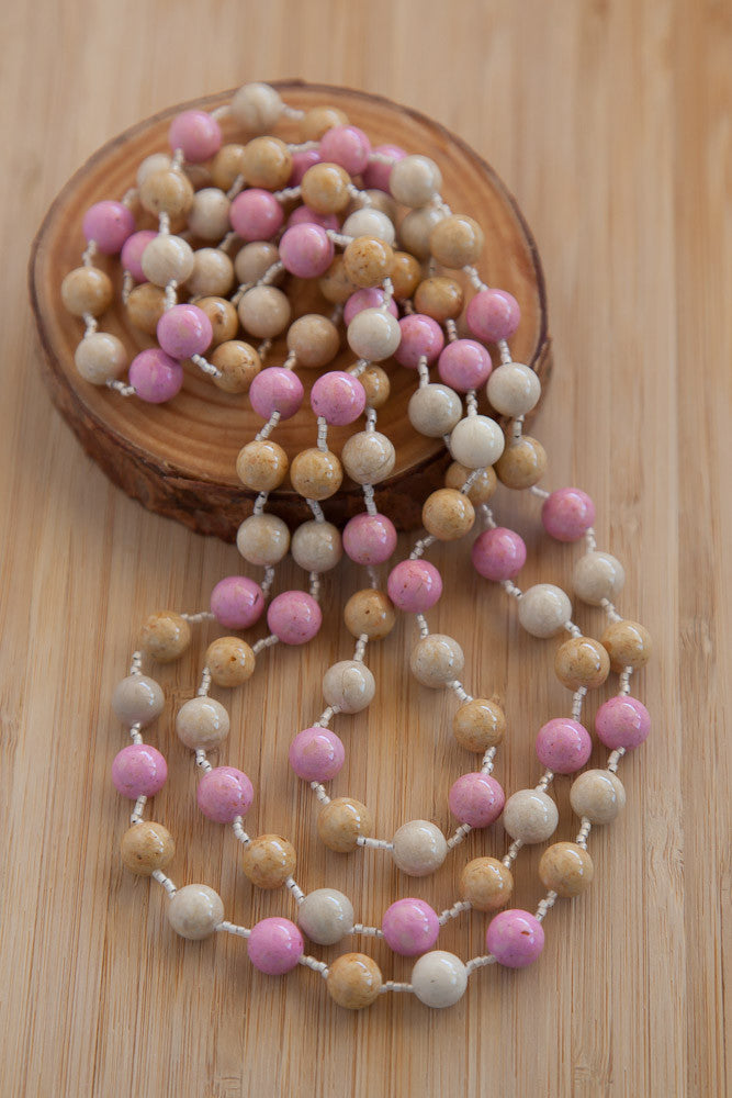 "60"" Pink, Cream & Beige Riverstone Necklace"