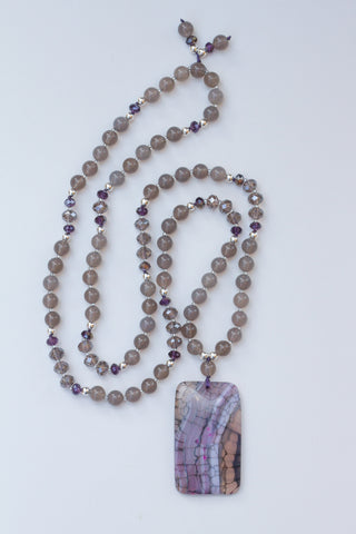 "35"" Long Grey/Purple Beaded Dragon Vein Agate Pendant Necklace with Grey Agate & Crystal Beads"
