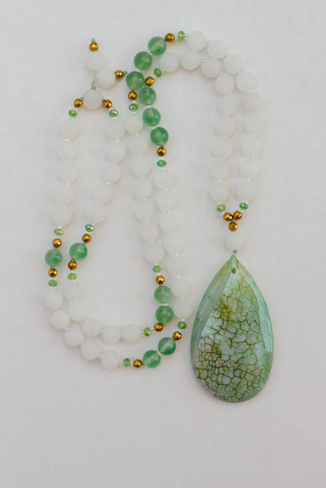 stunning green dragon vein agate pendant necklace with white matte jade and green jade beads