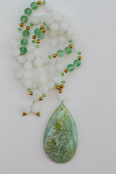 "30"" Long Green Dragon Vein Agate Beaded Pendant Necklace with Matte White Jade & Crystal Beads"