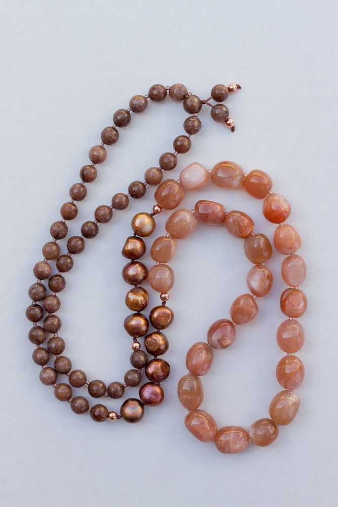 "35"" Long Beaded Gemstone Necklace with Tumbled Sunstone, Freshwater Pearls & Faceted Agate"