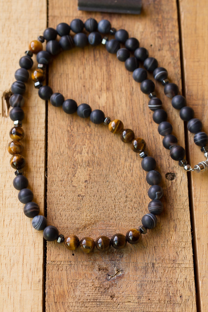 "22"" Long Beaded Black Agate Necklace with Tiger Eye & Hematite Beads"