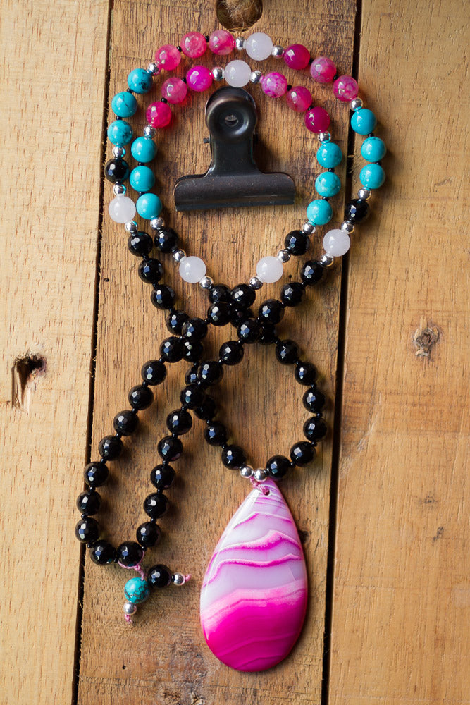 "30"" Long Beaded Pink Striped Agate Pendant Necklace with Black Onyx, Turquoise & Jade"