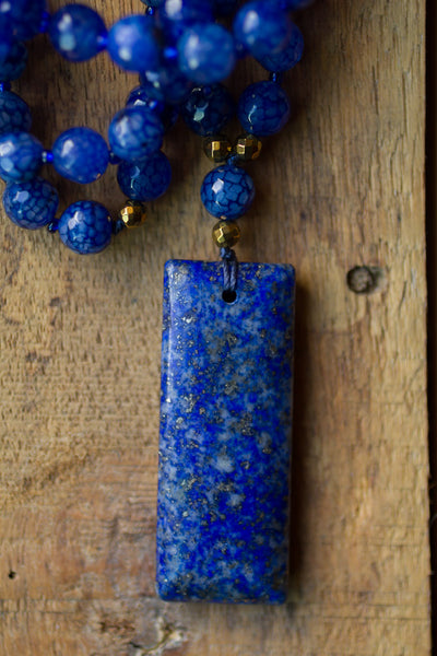 "30"" Long Beaded Blue Lapis Necklace with Blue Cracked Agate Beads"