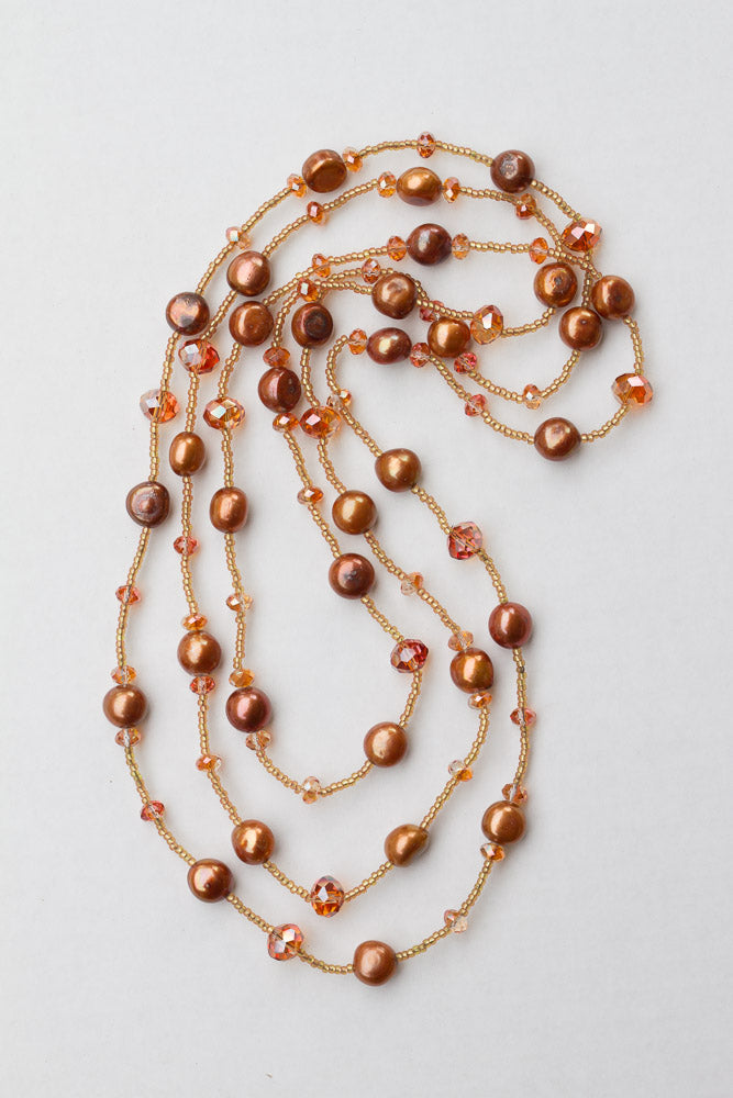 "60"" Long Beaded Copper Freshwater Pearl & Crystal Necklace"
