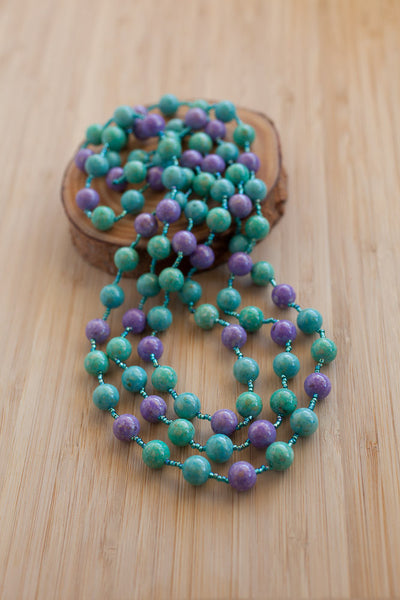 "60"" Purple, Turquoise & Teal Riverstone Necklace"