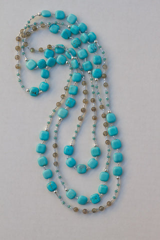 "63"" Long Beaded Turquoise Square with Labradorite & Crystal Necklace"