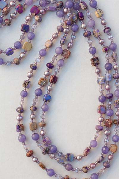 "60"" Long Purple Sea Sediment Jasper Necklace with Pearls, Agate & Crystals"