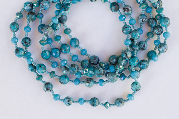 "60"" Long Beaded Teal/Black Agate & Crystal Necklace"