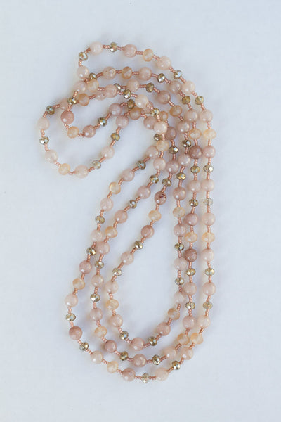 "60"" Long Beige Agate & Crystal  Beaded Necklace"