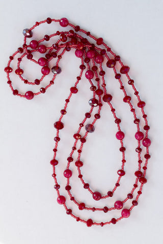 "60"" Long Beaded Red Agate & Crystal Necklace"