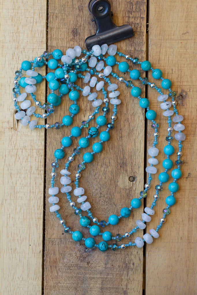 "60"" Long Blue Turquoise, Moonstone & Crystal Beaded Necklace"