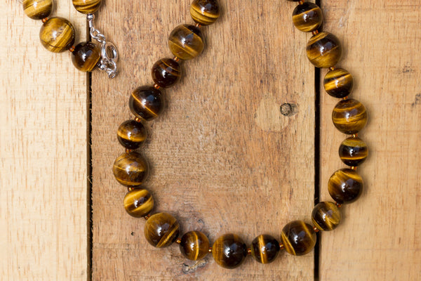 "20"" Long Chunky Brown Tiger Eye Beaded Necklace"