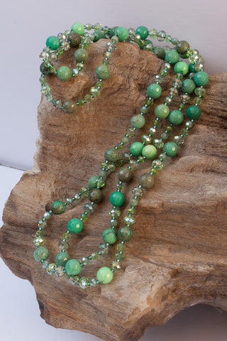 "45"" Long Green Chrysoprase & Crystal Beaded Necklace"