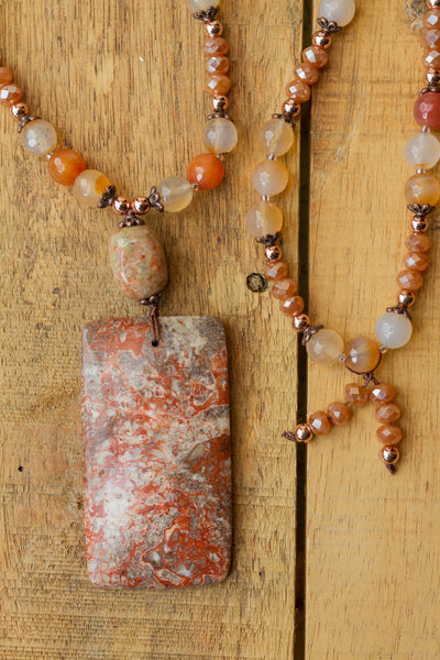 "30"" Long Ayaka Agate Pendant Necklace with Agate, Crystal & Copper Beads"
