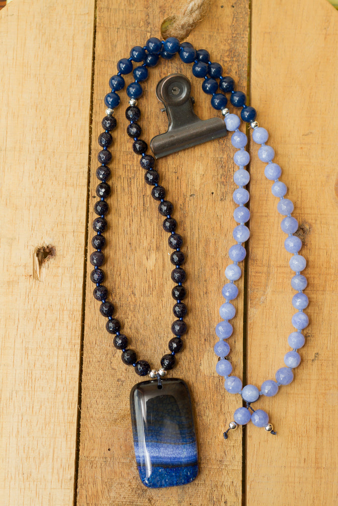 "30"" Long Blue Dragon Vein Agate Pendant Necklace with Blue Sandstone, Quartz & Agate Beads"