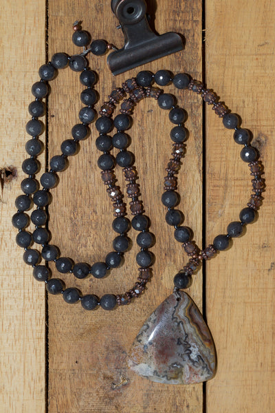 "30"" Long Crazy Lace Triangle Agate Pendant Necklace with Dark Grey Agate, Crystal & Copper Beads"