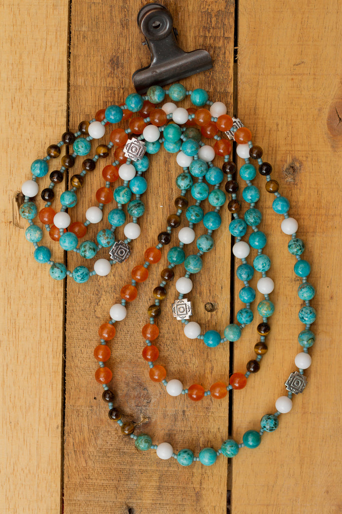 "62"" Extra Long Turquoise, Orange, White & Tiger Eye Beaded Wraparound Necklace"