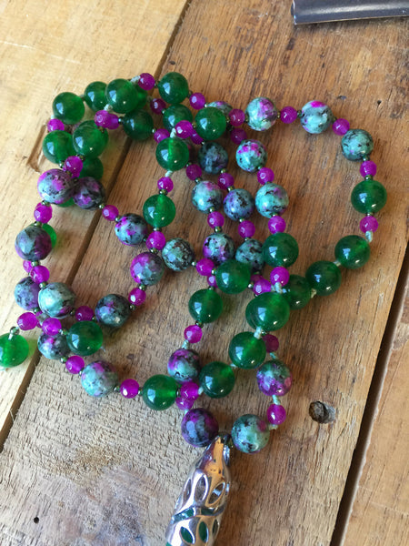 "30"" Long Green Aventurine Pendulum Necklace with Synthetic Ruby Zoisite, Fuchsia Agate & Green Glass"