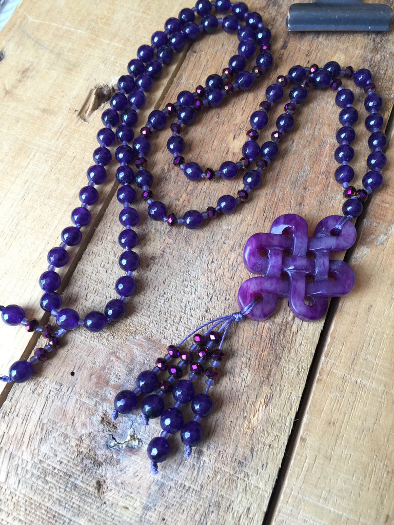 "30"" Purple Knot Necklace with Agate & Crystal Beads"