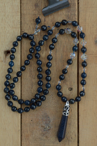 "30"" Long Dark Blue Sandstone Pendulum Necklace with Blue Agate & Swarovski Crystals"