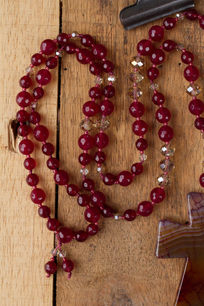 "30"" Long Large Ruby Dragon Vein Agate Cross with Ruby Agate & Crystal Beads"