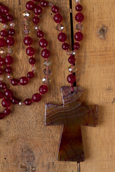 long red dragon vein agate cross necklace with agate and crystal beads
