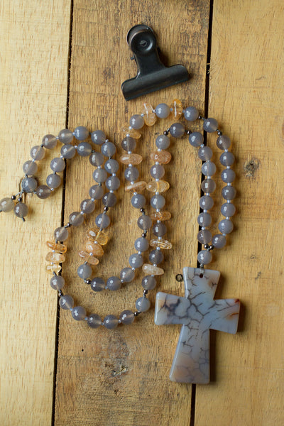 "30"" Long Grey Dragon Vein Agate Cross Pendant Necklace with Agate & Citrine Beads"