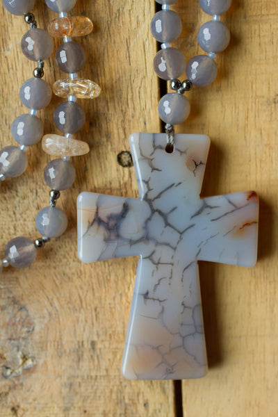 Long hand knotted grey dragon vein agate cross with citrine and agate beads