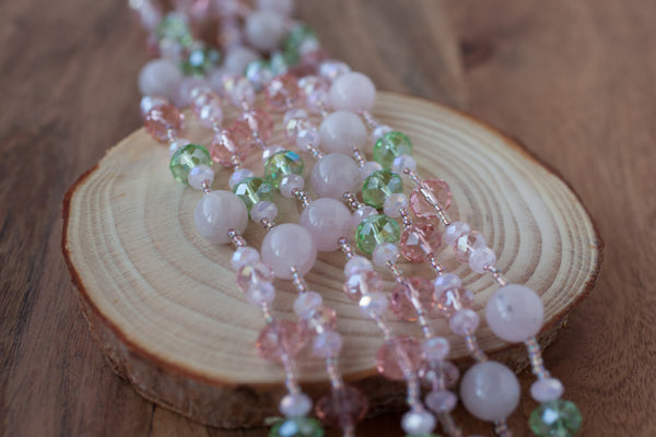 "60"" Rose Quartz & Crystal Necklace"