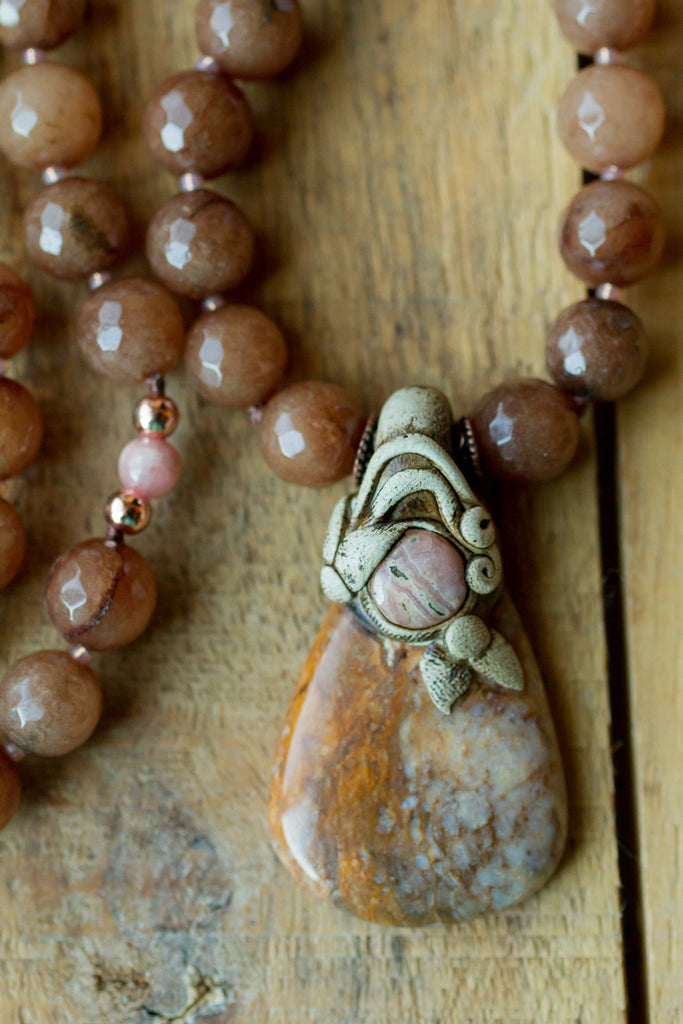"30"" Long Calcite, Rhodochrosite & Clay Beaded Necklace with Brown Agate & Rhodochrosite Beads"