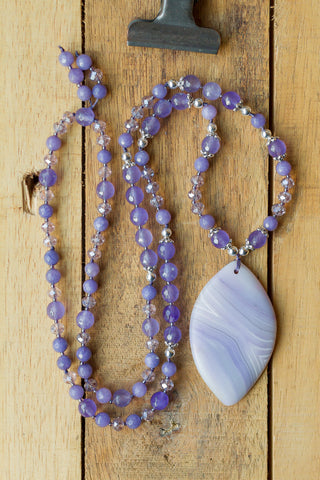 lavender purple matte striped agate pendant necklace with agate crystal and silver beads