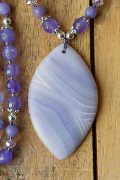 "30"" Long Matte Lavender Striped Agate Pendant Necklace with Agate & Crystal Beads"