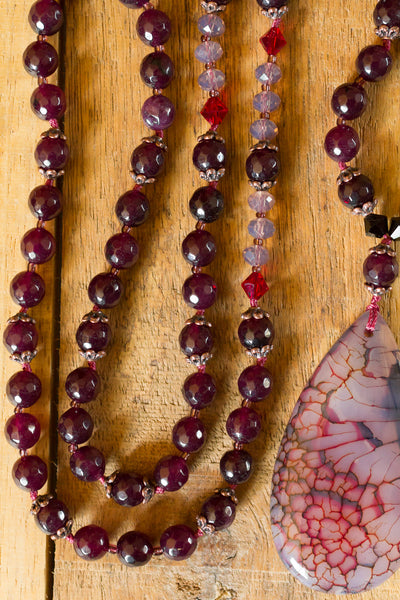 "30"" Long Mulberry plum Dragon Vein Agate Beaded Necklace with Crystal Beads & Agate"