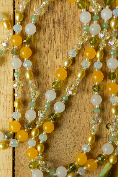 "60"" Long Green White & Yellow Agate, Jade & Crystal Lariat Y Wrap Necklace"
