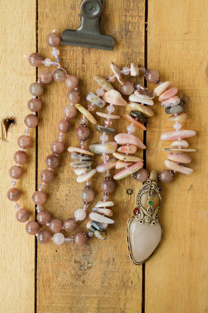 "30"" Long Rose Quartz & Clay Pendant Necklace with Quartz & Pink Opal Beads"