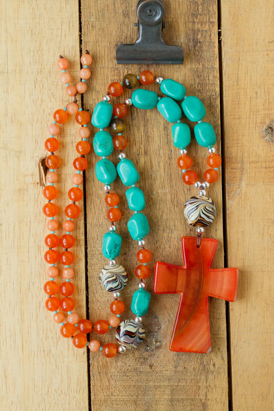 "30"" Long Boho Orange Agate Cross Pendant Necklace with Southwestern Turquoise, & Jade Beads"