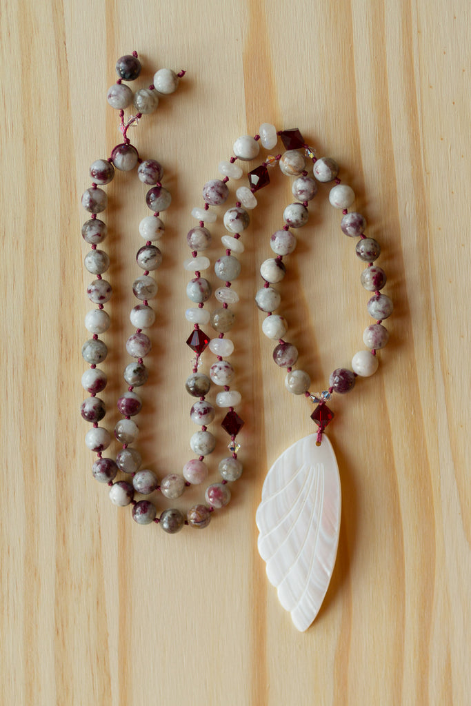 "30"" Long Mother of Pearl Wing Pendant Necklace with Tourmaline, Moonstone & Swarovski Crystals"