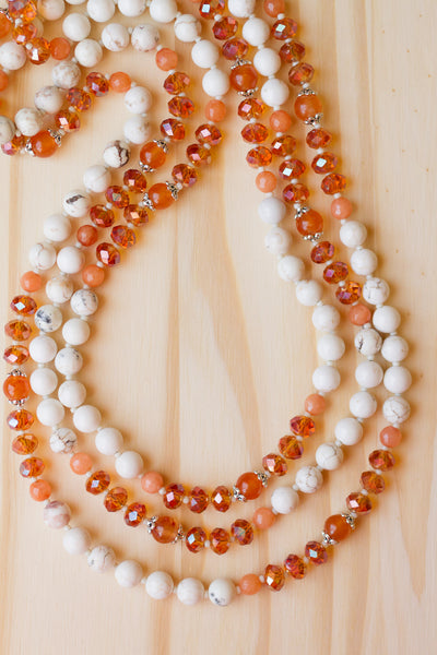 "62"" Long White Turquoise Multi-Wrap Necklace with Orange Jade & Crystal Beads"