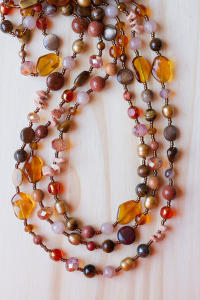 "61"" Extra Long Multi-Wrap Wraparound Beaded Necklace with Gemstone, Pearls & Glass Beads"