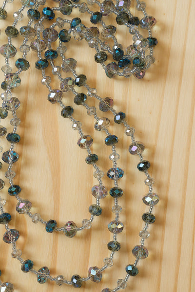 "62"" Extra Long Blue Grey Beaded Crystal Necklace"