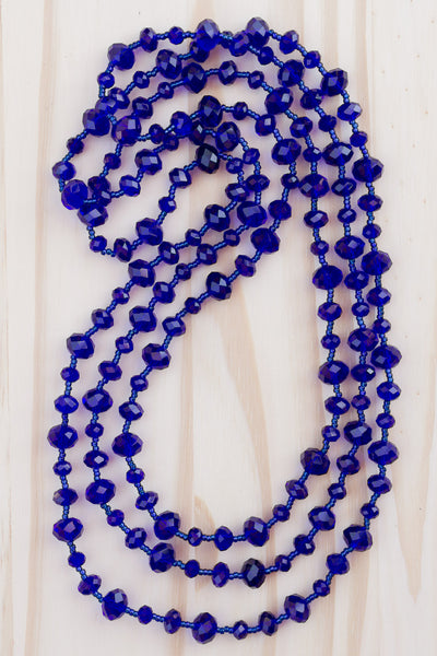 "62"" Extra Long Beaded Cobalt Blue Crystal Necklace"