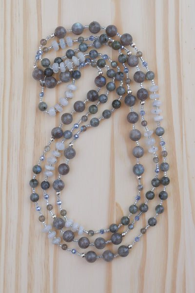 "62"" Extra Long Beaded Necklace with Labradorite & Moonstone Beads"