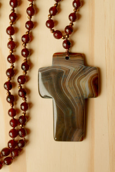 "30"" Long Dark Brown Agate Cross Hand Knotted Necklace with Agate & Copper Beads"