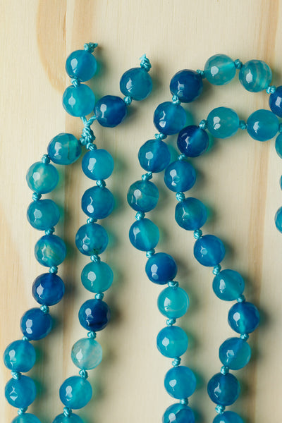 "30"" Long Hand Knotted Aqua Blue Agate Pendant Necklace with Aqua Beads"