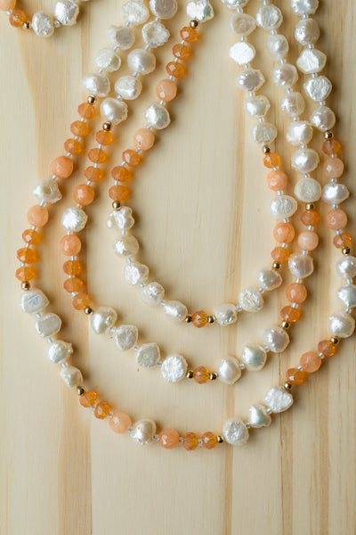 "60"" Extra Long White Pearl Beaded Multi Wrap Wraparound Neckalce with Orange Agate & Crystal Beads"