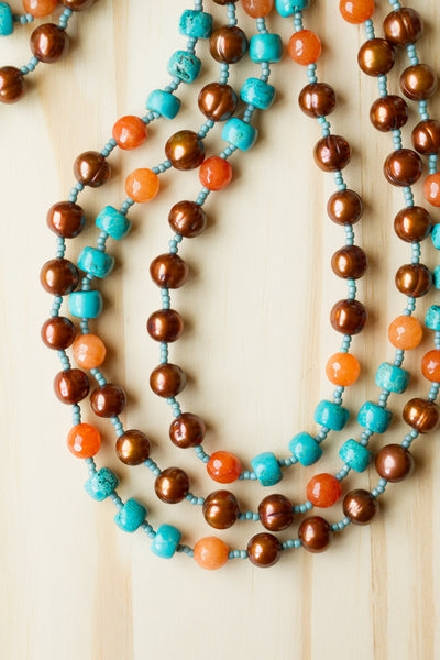 "60"" Extra Long Brown Freshwater Pearl Beaded Wraparound Necklace with Orange Agate & Turquoise Beads"